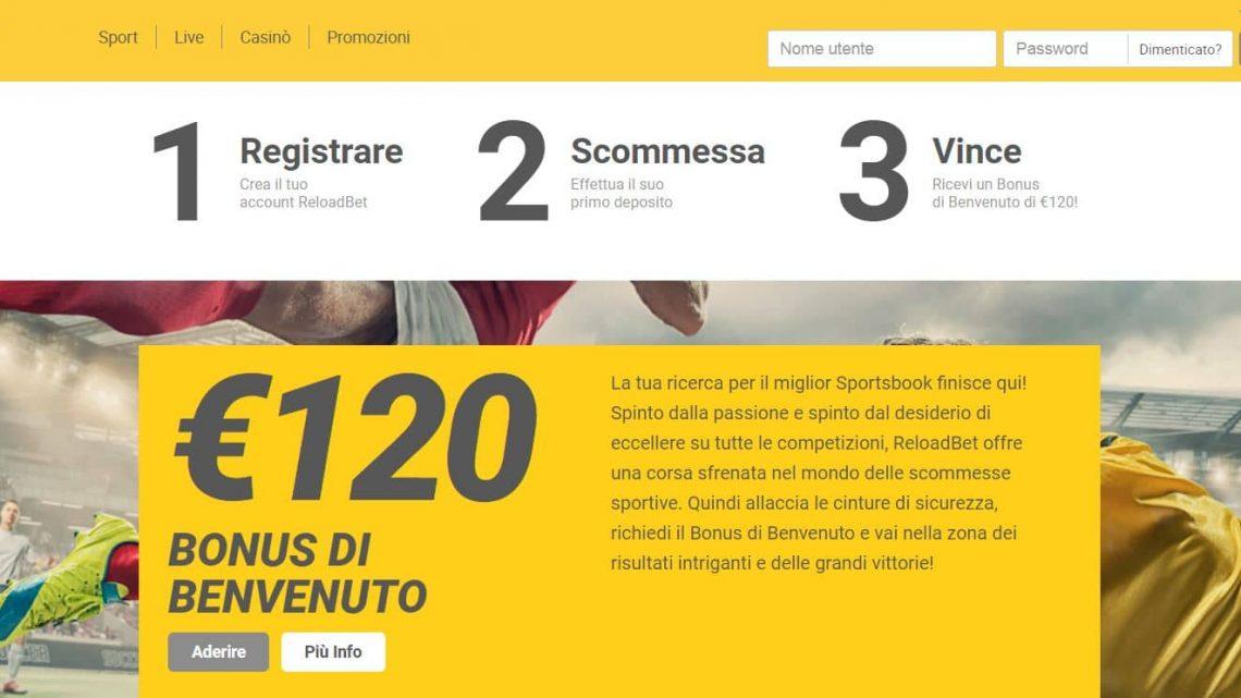 Bonus scommesse e casinò online, con ReloadBet fino a 420 euro